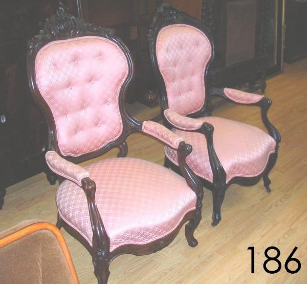 30186: ANTIQUE VICTORIAN CHAIR PAIR MAHOGANY PINK