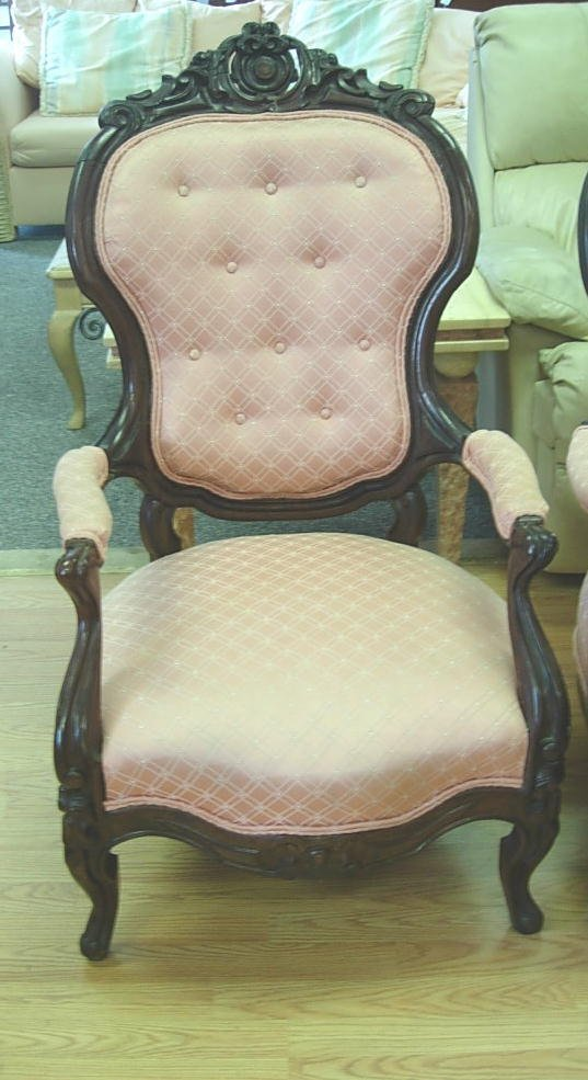 30186: ANTIQUE VICTORIAN CHAIR PAIR MAHOGANY PINK - 3