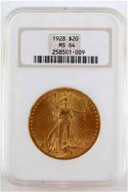 1928 ST GAUDENS DOUBLE EAGLE NCG MS64 GOLD COIN