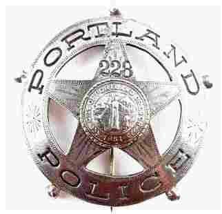 PORTLAND OREGON POLICE BADGE PIN COIN SILVER