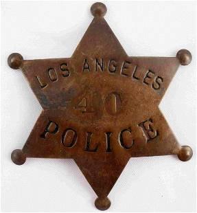 LOS ANGELES POLICE BADGE 40 PIN LAW BADGE