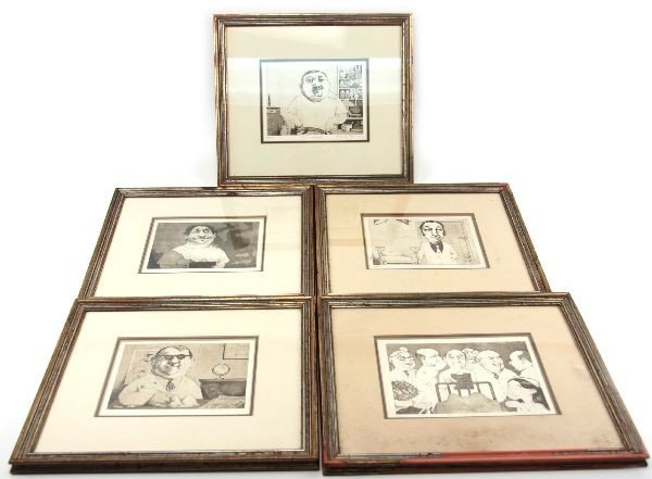 SET OF 5 SIGNED CHARLES BRAGG DOCTOR ETCHINGS