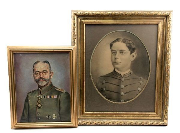 LOT OF WWI OIL PAINTING AND CHARCOAL PORTRAIT