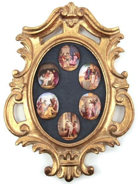 HAND PAINTED CAMEO STATIONS OF THE CROSS MOUNT