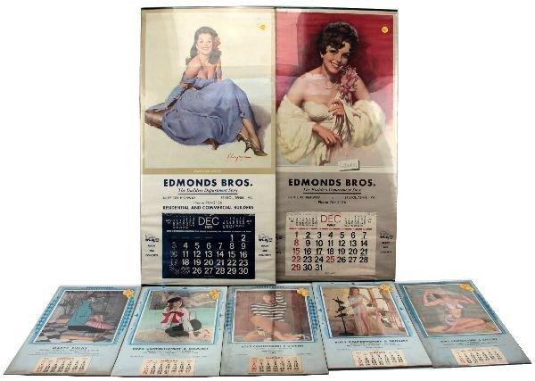 1960'S NUDE PEAKABOO PINUP GIRL CALENDAR LOT OF 7