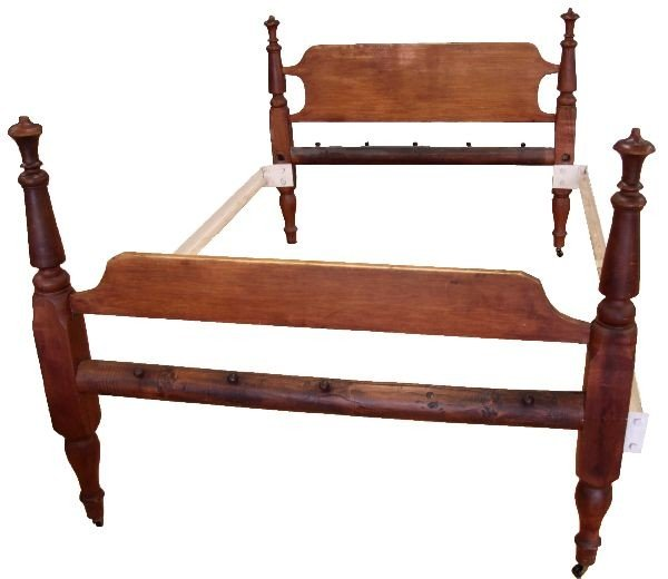 ANTIQUE WOODEN CONVERTED ROPE BED FRAME FULL