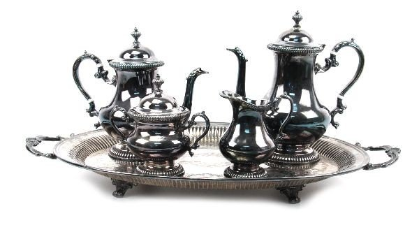 KENT SILVER PLATED COFFEE/TEA SET WITH TRAY