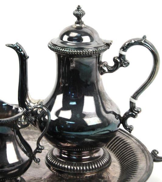 KENT SILVER PLATED COFFEE/TEA SET WITH TRAY - 3