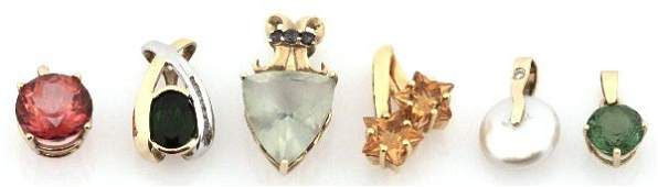 DEALERS LOT OF 6 GOLD MIXED GEMSTONE PENDANTS