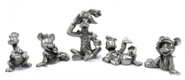 FIVE DISNEY CRUISE LINES LARGE PEWTER FIGURINES