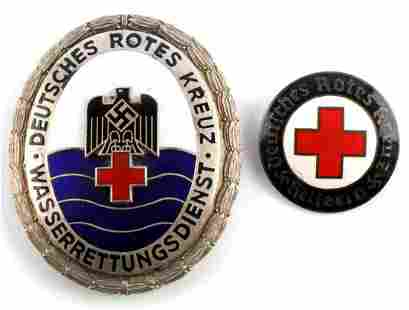 2 WWII GERMAN NUMBERED DRK RED CROSS BADGES