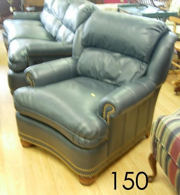 40150: THOMASVILLE LEATHER RECLINER CHAIR BLUE PLUSH LE