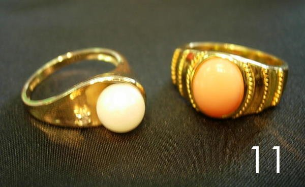 4011: 14K GOLD RING LOT OF 2 - CORAL + PEARL
