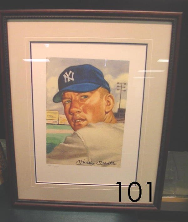 40101: MICKEY MANTLE AUTOGRAPHED 1953 TOPPS LITHO PRIN