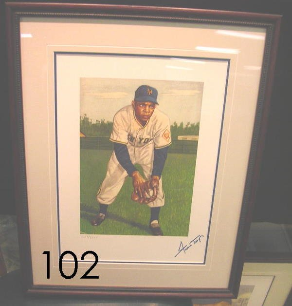 40102: WILLIE MAYS AUTOGRAPHED 1953 TOPPS LITHO PRINT