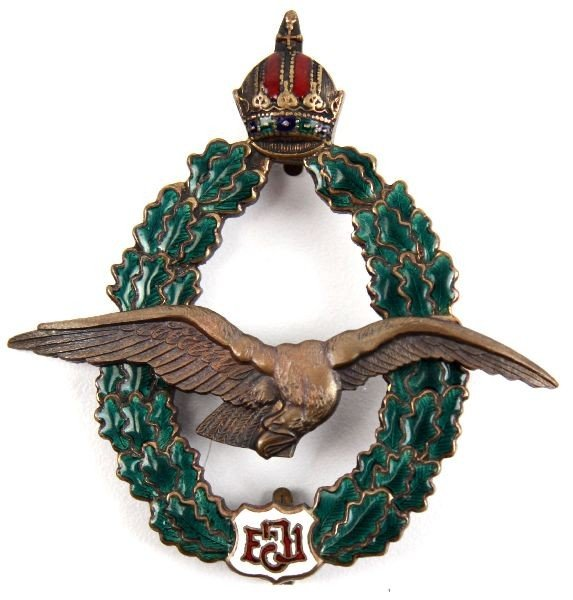 16: WWI AUSTRIAN HUNGARY ENAMELLED PILOTS BADGE