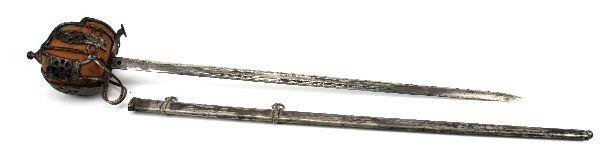 196: SCOTTISH BASKET HILT BROAD SWORD WITH SCABBARD