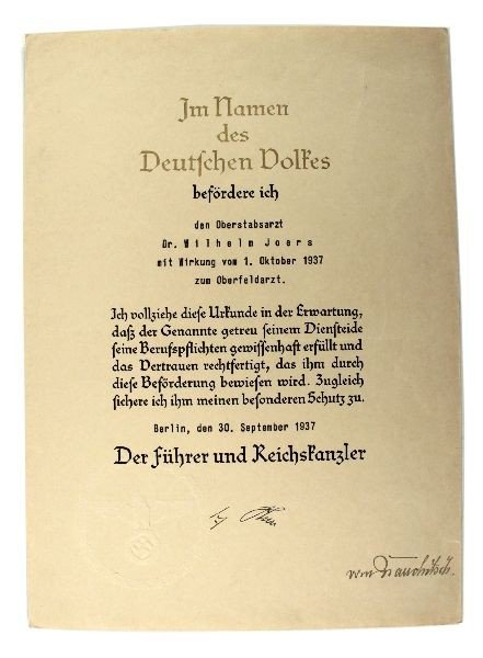 252: PROMOTION DOCUMENT SIGNED BY ADOLF HITLER