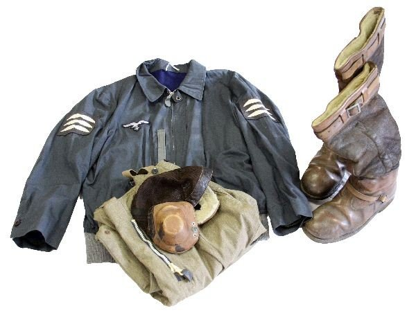 386: WWII LUFTWAFFE PILOTS UNIFORM WITH BOOTS & HELMET