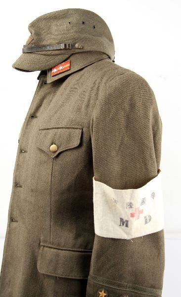 390: WWII JAPANESE ARMY MEDIC 1ST LT UNIFORM W/ VISOR - 2