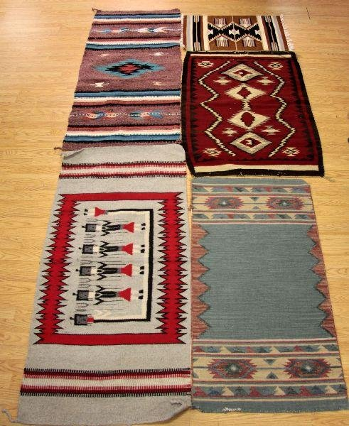 2001: LOT OF 5 NATIVE AMERICAN SADDLE BLANKETS AND RUGS