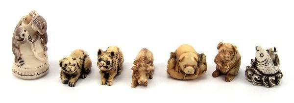 2014: GROUP OF SEVEN CARVED ZOOMORPHIC IVORY NETSUKE