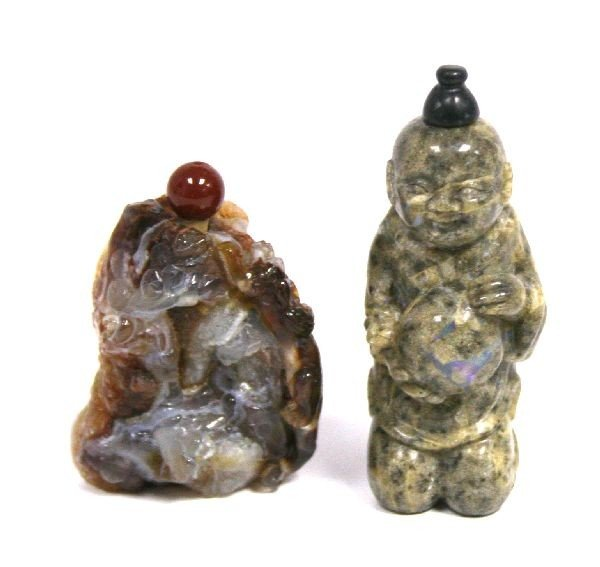 2017: PAIR OF CHINESE STONE FIGURAL SNUFF BOTTLES