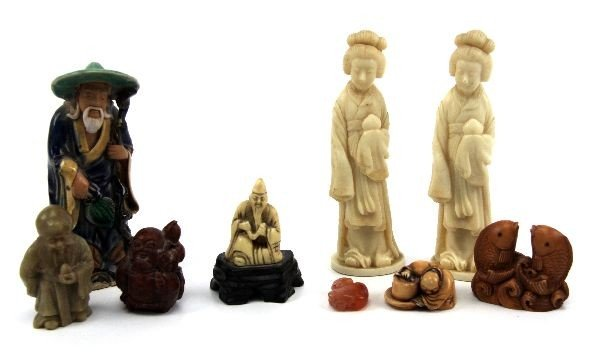 2018: LARGE GROUPING OF CARVED JAPANESE FIGURES
