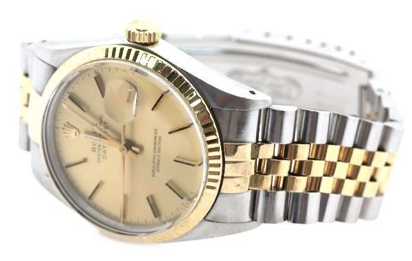 2404: MENS 18K/SS ROLEX OYSTER PERPETUAL DATEJUST WATCH