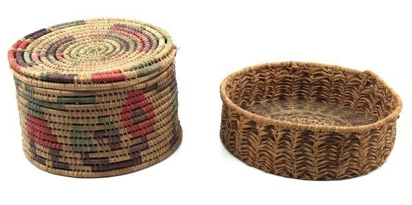 PAIR OF NATIVE AMERICAN HAND WOVEN BASKETS