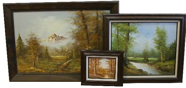 LOT 3 SIGNED OIL ON CANVAS SEASONAL FOREST SCENE