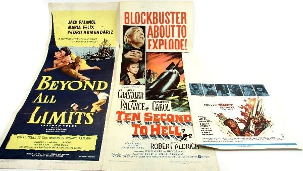 LOT OF 3 VINTAGE JACK PALANCE MOVIE POSTERS