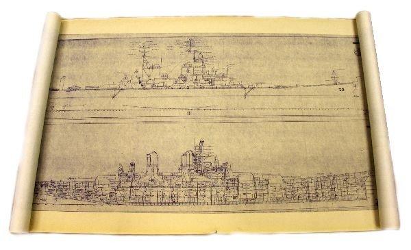 BB 62 USS NEW JERSEY HUGE DECLASSIFIED BLUEPRINT