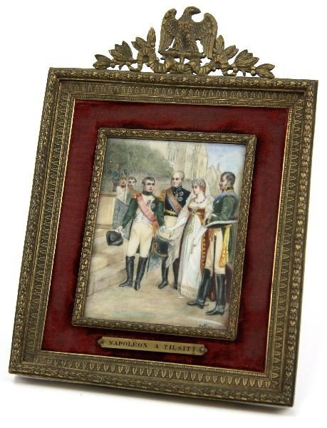 NAPOLEON ON IVORY WITH KING & QUEEN OF PRUSSIA