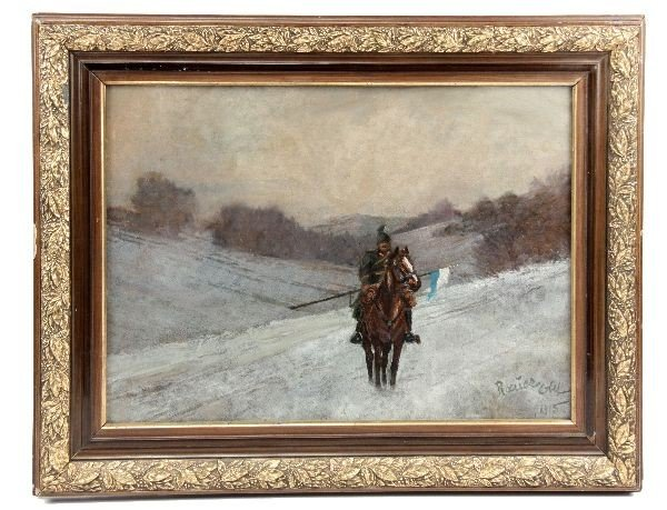 WWI PAINTING PRUSSIAN CAVALRY SOLDIER IN WINTER