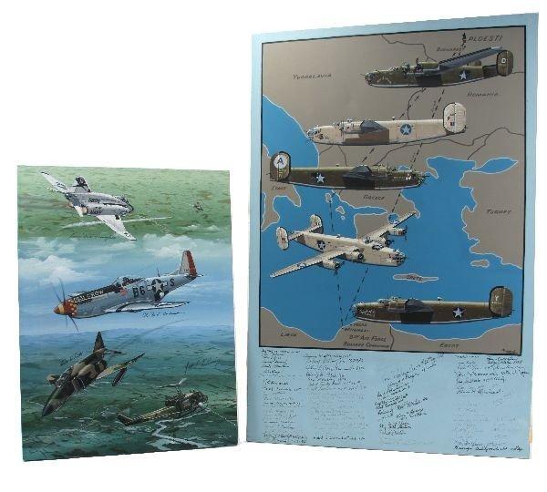 RAYMOND WADDEY PILOT SIGNED AIRPLANE AVIATION ART