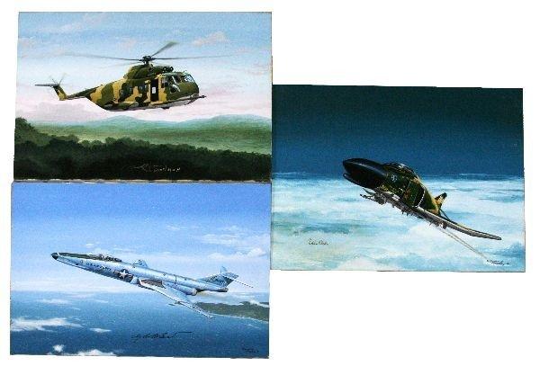 RAYMOND WADDEY PILOT SIGNED AVAITION ART LOT OF 3