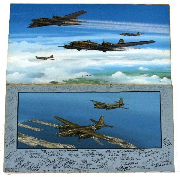 RAYMOND WADDEY WWII AIRCREW SIGNED BOMBER ART