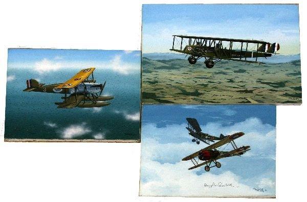 3 RAYMOND WADDEY PILOT SIGNED AVIATION ART