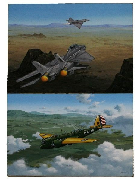 2 RAYMOND WADDEY ORIGINAL AVIATION ART WWII TOP GUN