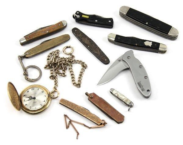 10 VINTAGE POCKET KNIVES PLUS POCKET WATCH