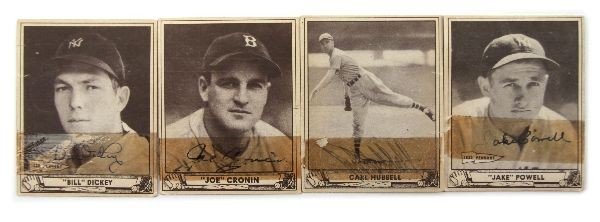 SIGNED 1939 PLAY BALL CARD LOT OF 4 CRONIN HUBBELL