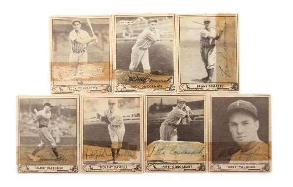 SIGNED 1939 PLAY BALL CARD LOT OF 7 ELBIE COOKIE