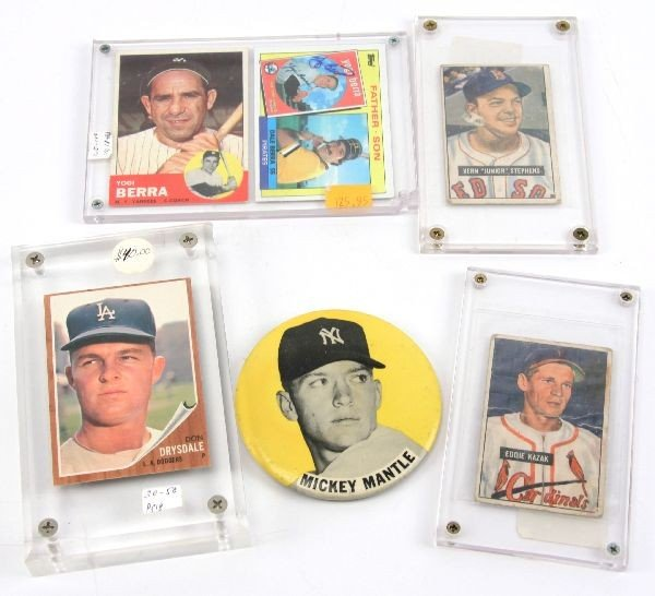 BASEBALL LOT MANTLE BERRA DRYSDALE PICTURE CARDS