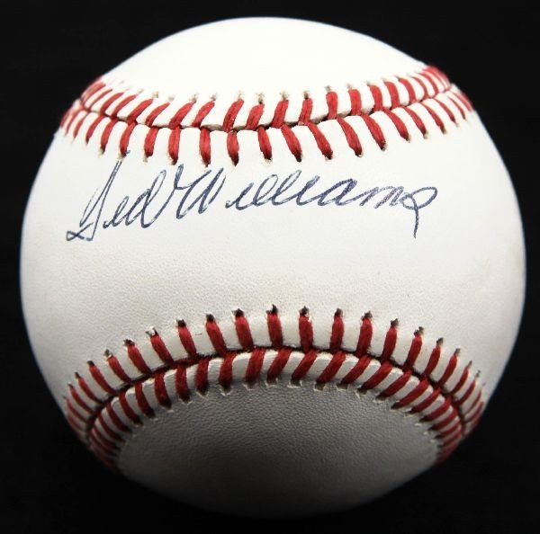TED WILLIAMS AUTOGRAPHED BASEBALL IN PSA HOLDER