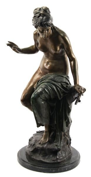 ECHO BY L GREGUINE BRONZE STATUE ON MARBLE BASE