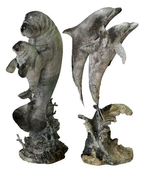 BRONZE DOLPHIN & MANATEE FIGURAL GROUP LOT OF 2