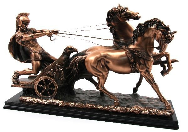 LARGE COPPER CHARIOT SCULPTURE ON WOOD BASE