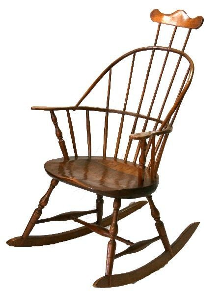 R GRELL HOOP BACK WITH COMB WINDSOR ROCKING CHAIR