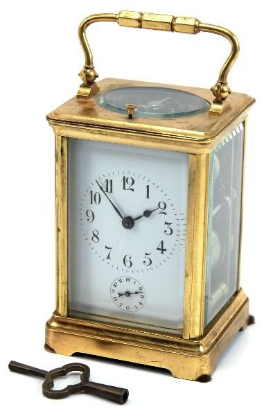 FRENCH GILT BRASS REPEATER CARRIAGE CLOCK W/ KEY
